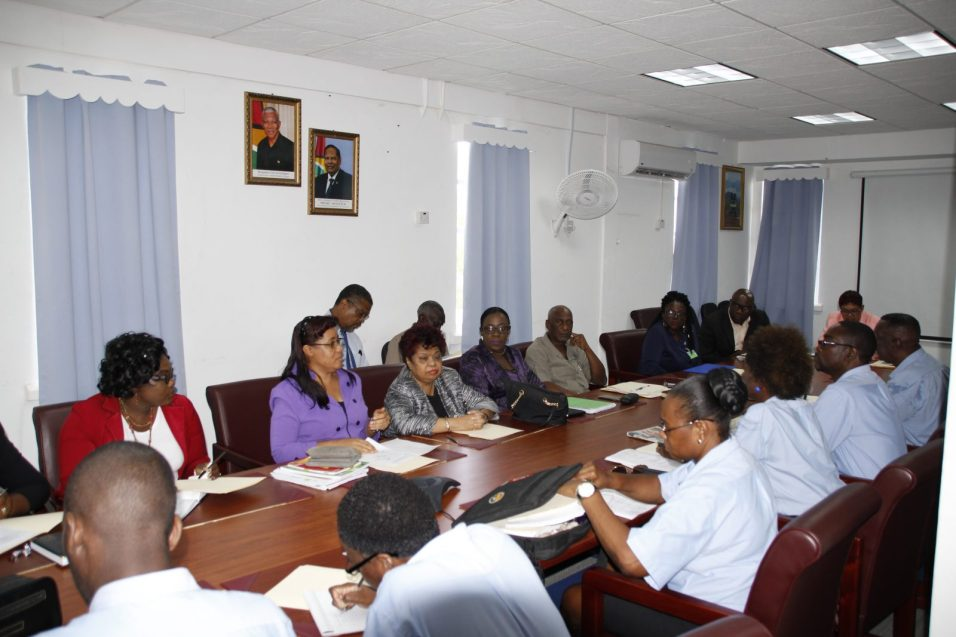 Ministry of Education (MOE) officials and Guyana Teachers' Union (GTU) representatives during the second round of talks held on August 9, 2018