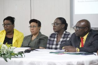 L-R – Assistant Superintendent of Examinations, Ms. Dawn Griffith, Deputy Permanent Secretary (Finance), Ms. Adele Clarke, Minister of Education, Hon. Nicolette Henry and Chief Education Officer, Mr. Marcel Hutson