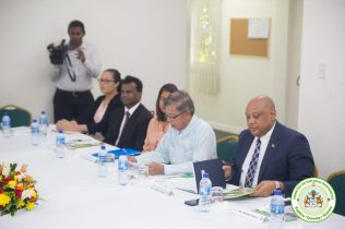Minister Trotman and representatives of the Ministry of Natural Resources (MNR)