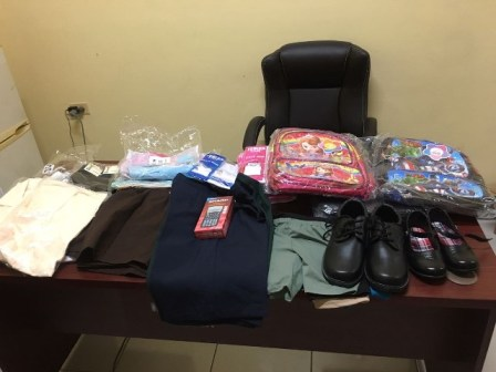 Some of the items donated to school children in the Mahaica-Berbice Region.