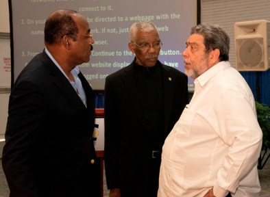 CARICOM Heads of Government in deep discussion. [from left] Prime Minister of Antigua & Barbuda, Gaston Brown, President of the Cooperative Republic of Guyana, H.E David Granger, Prime Minister of St. Vincent and the Grenadines,Ralph Gonsalves.