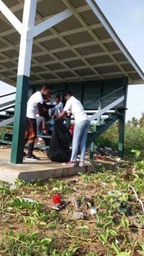 Volunteers at work at the Number 63 Beach coastal cleanup