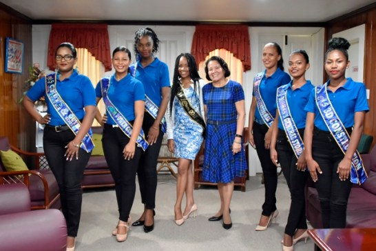 First Lady, Mrs.Sandra Granger with the reigning Ms. Lethem Queen, Ms. Aaliyah Anthony and contestants of the 2018 pageant.