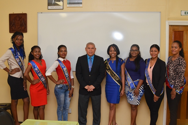 Minister of Social Cohesion, Dr. George Norton [centre] with delegates of the 2018 Lethem Town Week Pageant and reigning Queen Aaliyah Anthony.