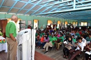 President David Granger addresses residents of Sisters Village, East Bank Berbice.