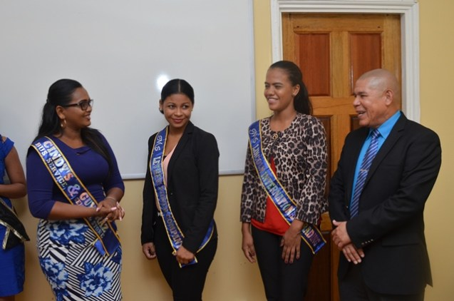 Minister of Social Cohesion, Dr. George Norton greeting the delegates of the 2018 Lethem Town Week Pageant.