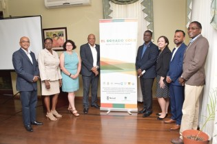 Minister of Natural Resources, Raphael Trotman and Officials of Conservation International Guyana.