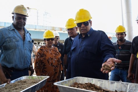Prime Minister Moses Nagamootoo inspecting the wood chips used as biomass at the Co-Generation plant.