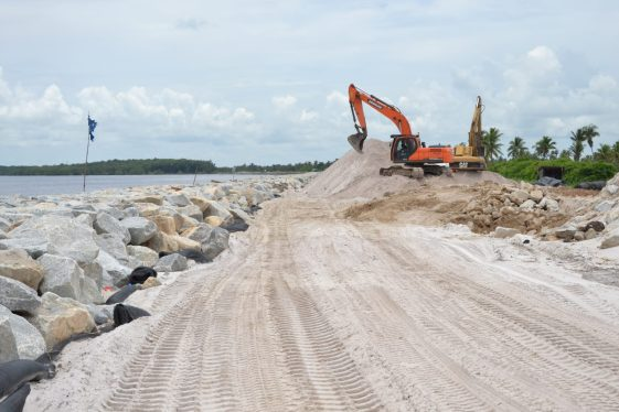 Ongoing CDB-funded riprap works at Crane, West Coast of Demerara