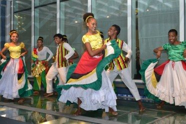 Dancers from the National School of Dance performing a cultural piece at the GuyTIE Cocktail Reception.