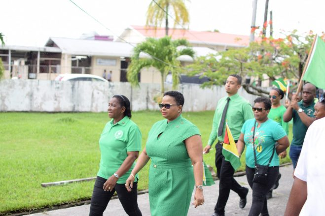 People's National Congress (PNC) Chairperson, Volda Lawrence leads A Partnership for National Unity (APNU) team on Nomination Day