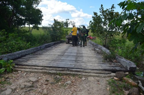 Commander, Engineer Corps, GDF, Colonel Gary Beaton and his team inspect one of the bridges between Karaudarnau to Baishaidrum that will be upgraded