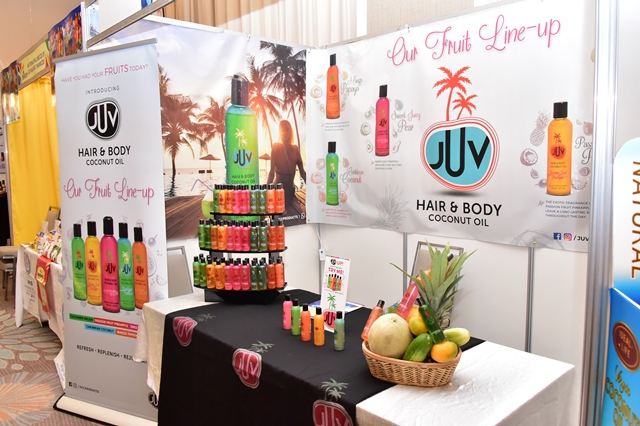 A display of locally produced coconut oil, hair and skin products by JUV Coconut Oil at the Guyana Trade and Investment Exhibition.