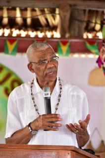 President David Granger addresses residents of the Rupununi at the opening of the Rupununi Regional Heritage celebrations 2018.