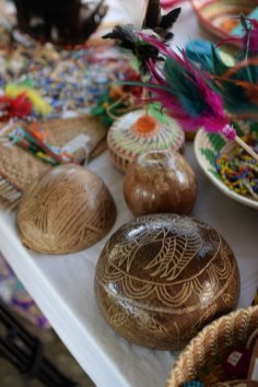 Some of the hand fans, jewellery box, fruit bowls and other items made with tibisiri material from the eta palm tree.