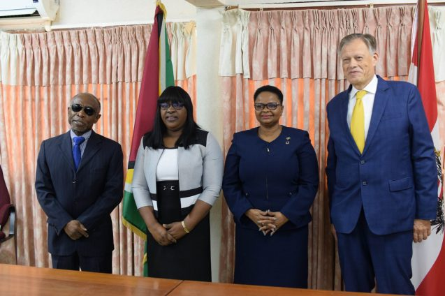 (From left to right) Minster of Foreign Affairs Carl Greenidge, Minister within the Ministry of Public Health, Dr Karen Cummings #Minister of Public Health. Volda Lawrence and Dr. Gernot Grimm, Head of Staff of the Austrian Ministry for Transport, Innovation and Technology