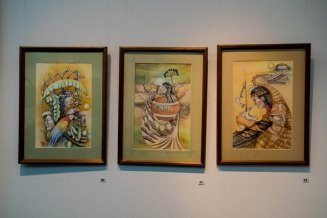 Some of the paintings on display.