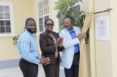 Head of the Maintenance Division, Mr. Bjorn Williams, Minister of Education, Hon. Nicolette Henry and UG Vice-Chancellor, Professor Ivelaw Griffith