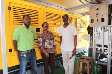 [From left to right] Chief Mechanical Engineer, Dwane Griffith, General Manager of the Transport and Harbour Department (THD), Marcelene Merchant and Chief Executive Officer of Brenco Shipping and Trading Company Ltd., Courtney Benn ensuring the engines are working up to standard
