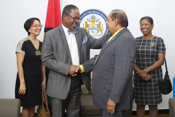 Prime Minister Moses Nagamootoo and UG's Vice-Chancellor, Professor Ivelaw Griffith.