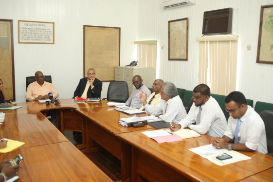 Minister of Finance, Winston Jordan [left] meeting with executives of the Institute of Chartered Accountants of Guyana as part of Budget 2019 consultants