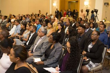 A section of those who attended the launch of the Hughes, Fields and Stoby USA PLLC in Houston, Texas at the Guyana Marriott Hotel.