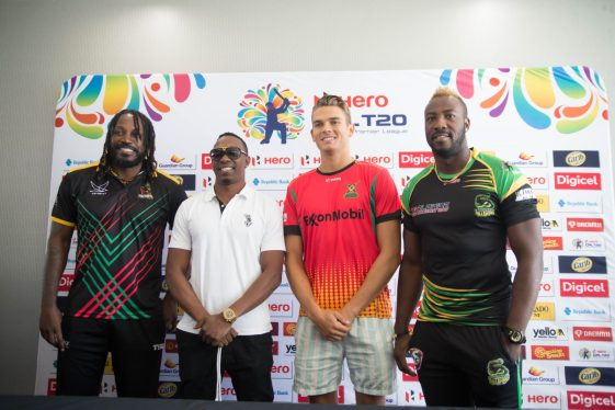 [From left] Captain of the St. Kitts and Nevis Patriots (SKNP), Chris Gayle, Captain of the Trinbago Knight Riders (TKR), Dwayne Bravo, Captain of the Guyana Amazon Warriors team, Chris Green, and Captain of the Jamaica Tallawahas, Andre Russell