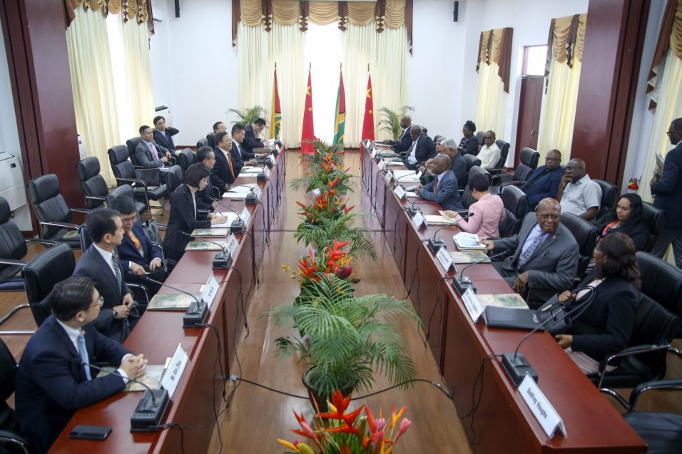 The Guyana and China delegations preparing for bilateral talks at the Arthur Chung Conference Centre (ACCC).