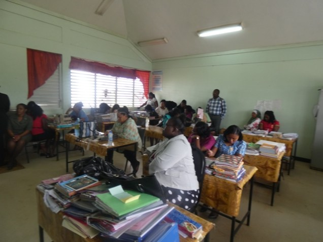 Over 20 Linden Foundation Secondary School teachers turn up to work on Monday.