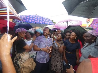 Member of Parliament, Jermaine Figueira addressing protesting teachers in front of the Department of Education in Region 10.