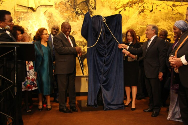 President of the Republic of South Africa, Mr. Cyril Ramaphosa joins United Nations General Assembly President, Ms. María Fernanda Espinosa Garcés (Ecuador), and United Nations Secretary-General António Guterres, to unveil the statue of the Nelson Mandela