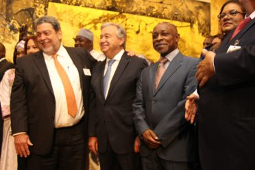Prime Minister of Saint Vincent and the Grenadines, Mr. Ralph Gonsalves, UN Secretary-General António Guterres, and Vice President and Minister of Foreign Affairs of Guyana, Mr. Carl B. Greenidge, following the unveiling of the statue of Nelson Mandela