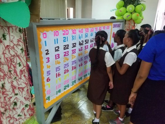 Students examining the number chart