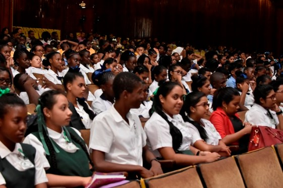 """A section of students who attended the screening of """"Unbreakable"""" at the National Cultural Centre ."""