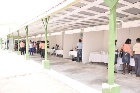 A section of the Ministry of Public Health's health fair at the Ministry of the Presidency