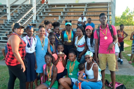 Some of the athletes with their medals.