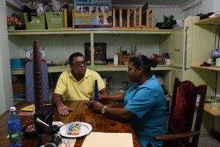 Deoranie Babulall while she was at the Palms Rehabilitation Centre with a stroke patient, she has recently been transferred to the Ptolemy Reid Rehabilitation Centre.