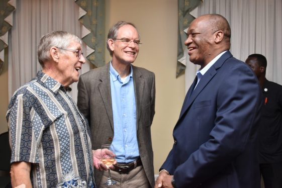 Minister of State, Mr. Joseph Harmon (right) shares a light moment with Ambassador Jacob Frederiks, new Non-Resident Ambassador of the Netherlands to Guyana and Mr. Ben ter Welle, outgoing Honorary Consul of the Federal Republic of Germany in Guyana