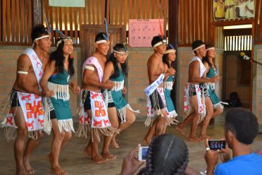Students of the Annai Secondary School perform a welcome dance