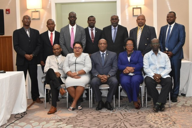 Minister of State, Mr. Joseph Harmon (centre) with the participating Ministers and officials of the Caribbean Community (CARICOM) Third Partnership Initiative for Sustainable Land Management (PILSM 3) High Level Meeting of Caribbean Ministers from Small Island Developing States (SIDs), which is currently underway at the Marriott Hotel, Guyana.