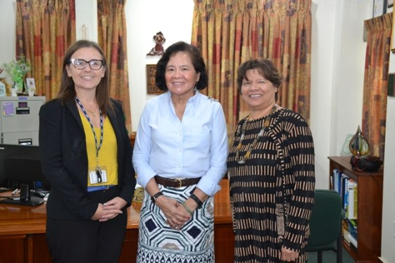 (From Left) Canadian High Commission's Counsellor, Development Cooperation - Guyana, Suriname and Trinidad & Tobago, Ms. Janine Cocker, First Lady, Mrs. Sandra Granger and Canadian High Commissioner ,Her Excellency, Ms. Lillian Chatterjee, during the courtesy call.