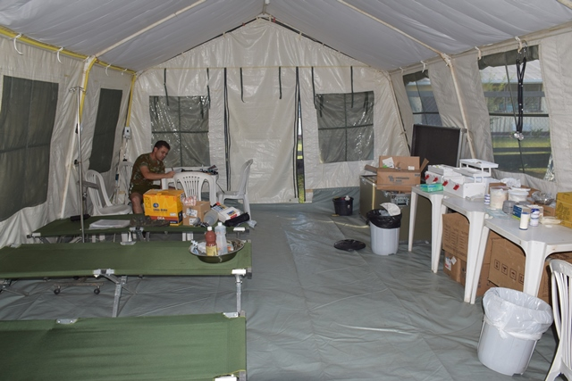 Brazilian Army Health Post set up at the base in Aishalton.