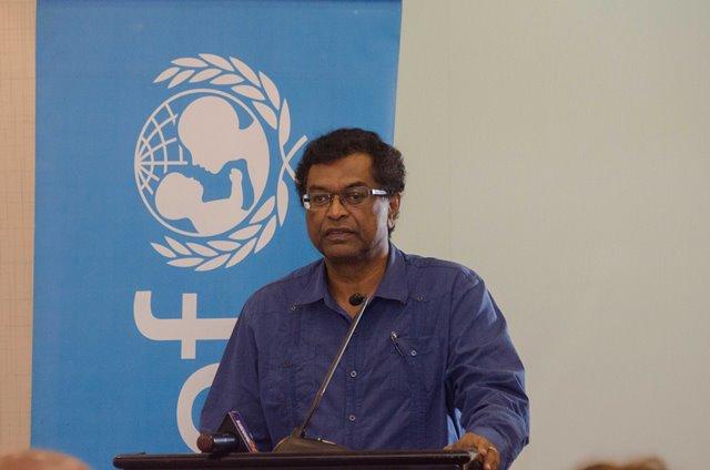 Minister of Public Security, Khemraj Ramjattan addressing the participants of the Juvenile Justice Sensitisation Session.