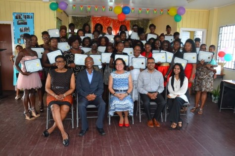 First Lady Mrs. Sandra Granger (seated centre) along with, Facilitators (seated from right), Ms. Crystal Baptise and Mr. Sanjay Pooran, Director of Interweave Solutions, Mr. Wayne Barrow and participants of the 30th Self-Reliance and Success Workshop.