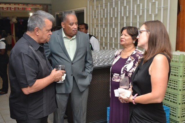 Canadian High Commissioner Lilian Chatterjee (centre) interacting with members of the local private sector.