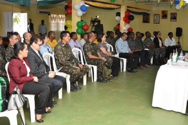 Members of the Brazilian Army's 6th Battalion Engineering Corps and Guyana Defence Force and special invitees at this morning's welcome ceremony.