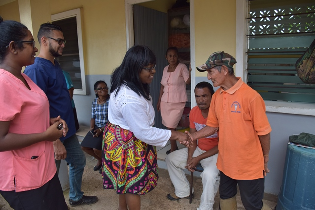 Minister Cummings interacts with staff of the Pakera District Hospital during her visit.