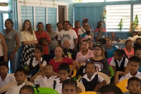 Residents of Orealla-Siparuta gathered at the Orealla village benab to listen to the Minister of Public Health, Volda Lawrence's address on health services.