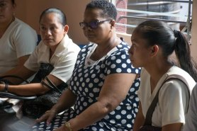 Minister Lawrence in Lethem at a meeting of CHWs, more than one year after cancer.