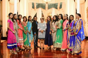 Mrs. Sita Nagamootoo, wife of Prime Minister, Moses Nagamootoo poses for a picture with the ten delegates of Miss India Guyana 2018 and franchise holders Hashim Ali and Melicia Partab-Ali